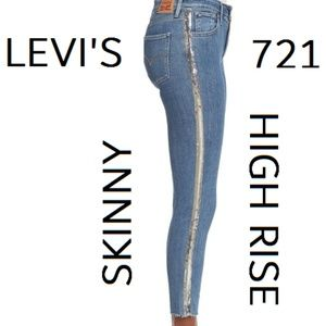 🎁SALE🎄LEVIS 721 SEQUIN High Rise Skinny Fray leg